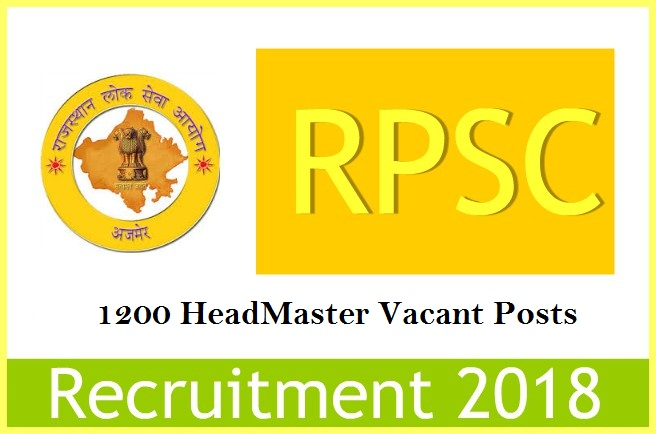 RPSC Head Master Recruitment 2018