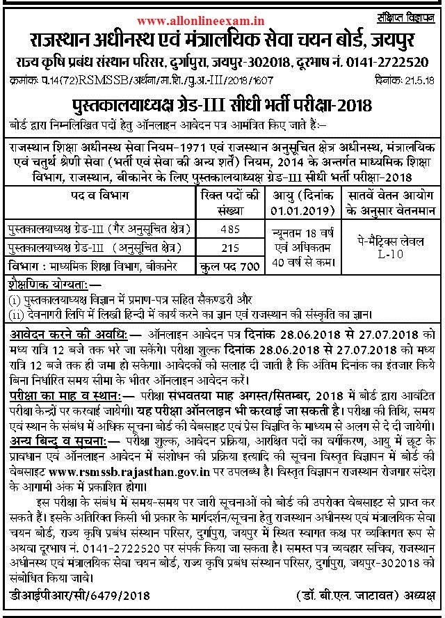 Rajasthan Library Officer Recruitment 2018